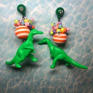 Jewelry - Dinosaur 🦖 green orange stripes neon bead earring